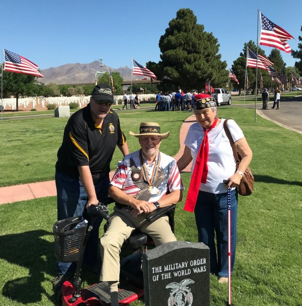 Robert Jeskey, David Thackston & Olga Kappakgian at the MOWW plaque at the Ft. Bliss Cemetery on Memorial Day.JPG