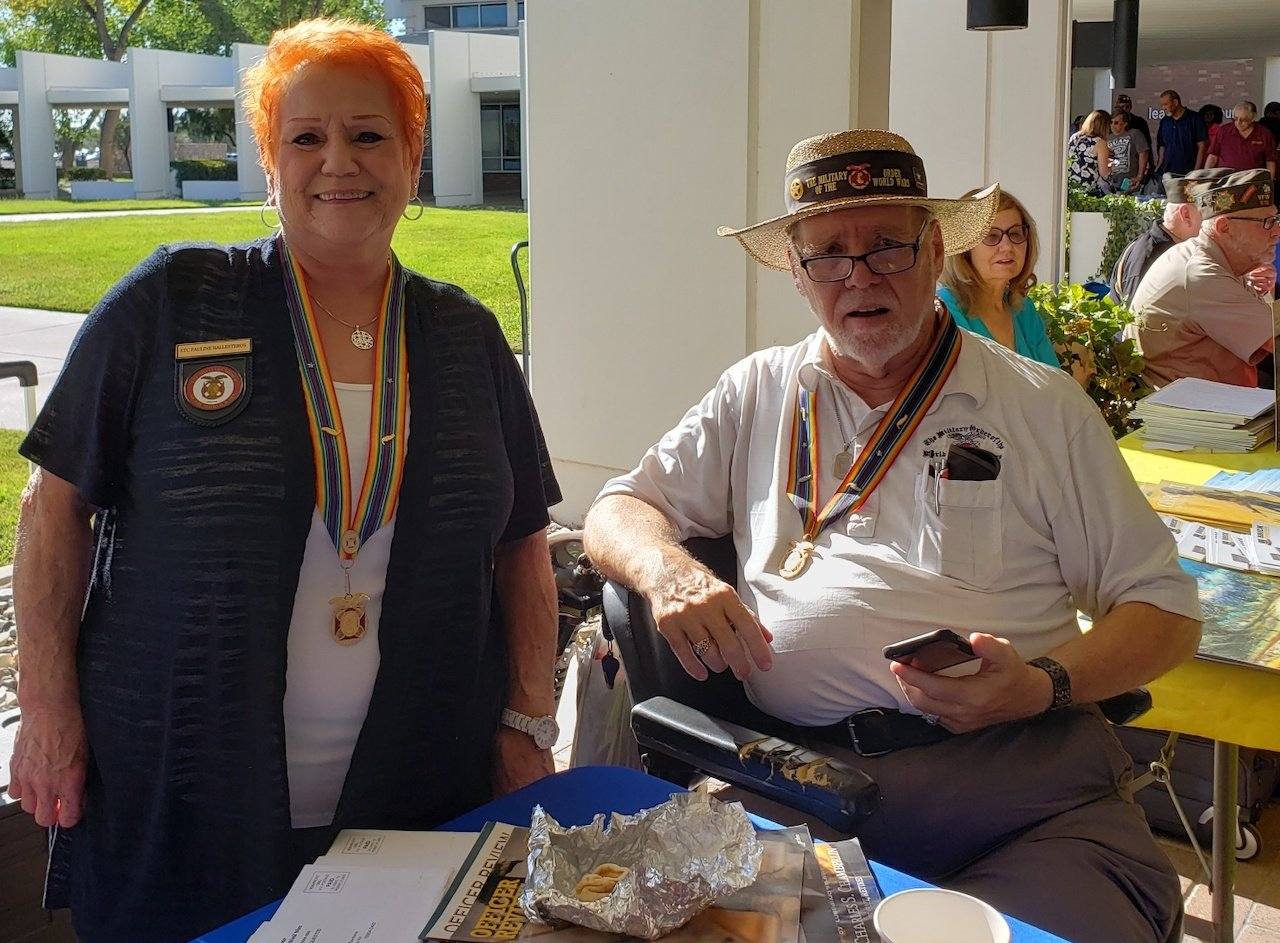 Companions Pauline Balesteros and David Thackson Man the MOWW Table at the Ft Bliss RAD.jpg