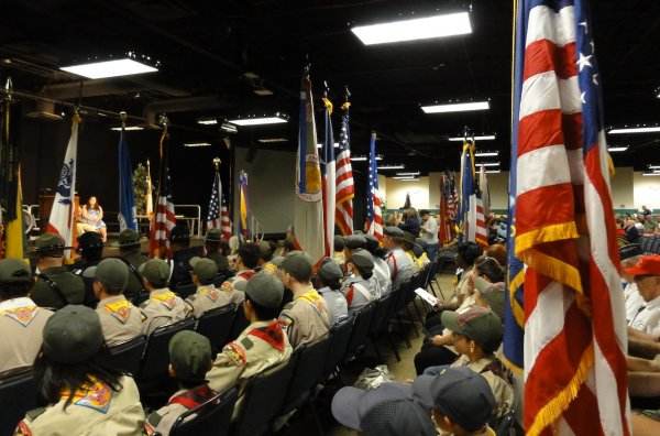Units sit during introductions of VIPs.JPG