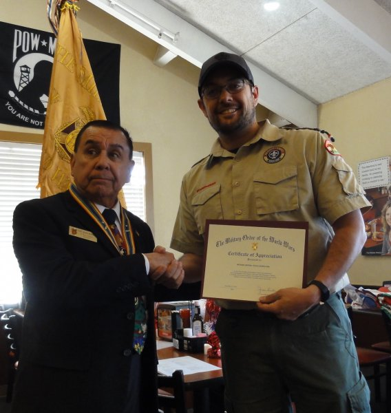 Mr Rich Ortega Receives a Certificate of Appreciation for his Presentation to the Chapter.JPG